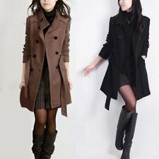 Womens Warm Double-breasted Long Slim Trench Parka Coat Jacket Outwear LOT