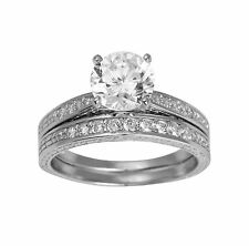 1.50 Ct 14K White Gold Round Cut Engagement Promise Ring Matching Band Duo Set