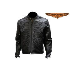 Mens Reflective Skeleton Motorcycle Soft Naked Cowhide Leather Jacket
