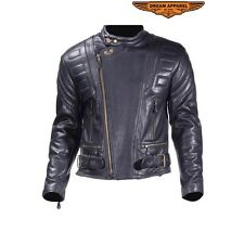 Mens Motorcycle Racer Naked Cowhide Leather Jacket With Padding Zippered Cuffs
