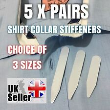 NEW 5 PAIRS HIGH QUALITY WHITE PLASTIC FORMAL SHIRT COLLAR STIFFENERS STAYS