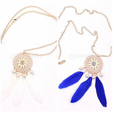 Hot Vintage Charm Gemstone Leaf Disk Feather Pendant Chain Necklace Jewelry