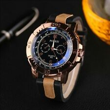 Fashion Luxury Men's Watches Analog Quartz Faux Leather Sport Wrist Dress Watch