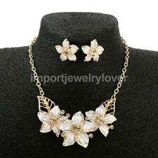 High Quality Flower Oil Drip Rhinestone Necklace Earrings Set for Wedding Party