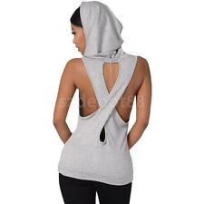Hooded Pocket Design Hollow Out Backless Criss Cross Hoodie Tank Top for Women