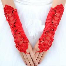 Wedding Bridal Fingerless Lace Bridal Gloves Strench Satin Bling Bling sequins