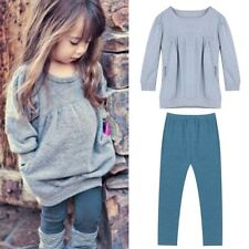 Toddler Kids Baby Girls 2PCS Outfit Clothes T-shirt Tops+Long Pants Trousers Set