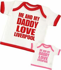 BabyPrem Baby Clothes Me & Dad Love Liverpool Baby T-Shirt NB 0-6 6-12 12-24