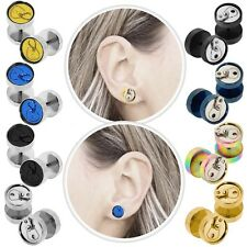 Tunnel Plug Can Fakeplugs Earring Ear Piercing Fake 10mm Steel Taper Cheater