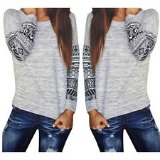 Womens Long Sleeve Shirt Casual Lace Blouse Loose Cotton Tops T Shirt GT