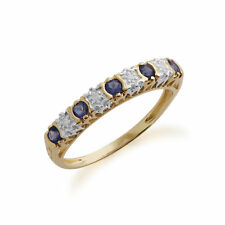 Gemondo 9ct Yellow Gold 0.18ct Iolite & 2pt Diamond Half Eternity Band Ring