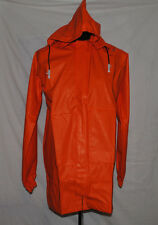 Bright Orange Water Proof Over Jacket Cycling Removable Hood Secure Fastening M