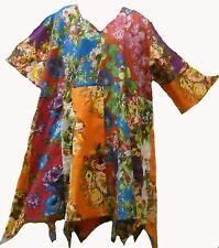 Nwt FUNKY STUFF hippy patch floral cotton hanky TOP TUNIC DRESS 3X 4X Free shipp