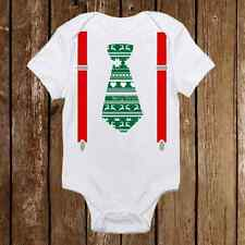Ugly Christmas Onesies Tie & Suspenders Green or Red Baby Boy First Christmas