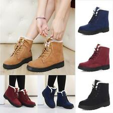 Women's Winter Snow Ankle Boots Warm Faux Suede Fur Lace up Casual Flat Shoes