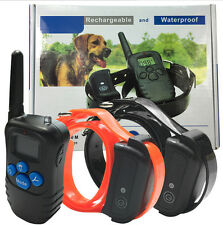300M Shock Vibrate Remote Rechargeable Blue LCD Pet 1 Dog/2 Dogs Training Collar