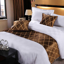 yazi Bed Runner Scarf Suede Xmas Bedding End Slipcover Pillowcase Coffee Plaid
