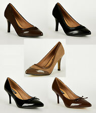 S26 - Ladies Panel Pointed Toe Court Stiletto High Heels Shoes - UK 3 - 8