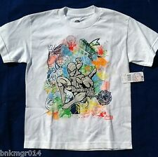 NWT Youth Marvel Comics Spiderman White with Silver Glitter T Shirt Sizes S-XXL