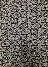 Black & Taupe Floral Lace Print on Stretch Nylon Spandex Tricot Fabric