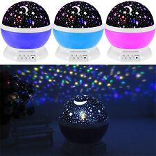 Romantic Star Moon Sky Rotation Night Lighting Projector Lamp Baby Sleep Light