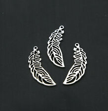 15/50/100 pcs Tibet silver retro style Hollow out feather alloy charms pendant