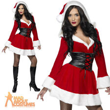 Adult Miss Sexy Hooded Santa Costume Fever Ladies Christmas Fancy Dress Outfit