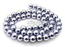 "SALE 8mm White Super Luster Round High Quality Hematite beads strand 15""-los535"