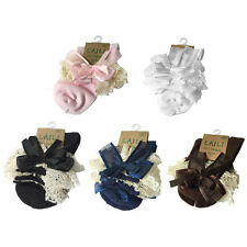 Lace Bow Solid Pure Cotton Lace Princess Socks For Children Kids Toddler Girl SM