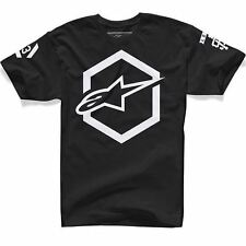 Alpinestars Ajax Mens T-Shirt Casual Crew Neck Top Cotton Black/White New