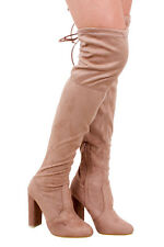 Ladies Womens Natalie Mocha Thigh High Heeled Boot New
