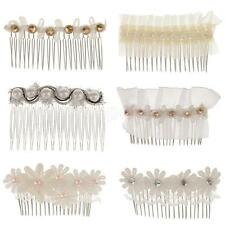 Bridal Hair Comb Clip Crystal Rhinestone Lace Flower Faux Pearl Wedding Hairpin