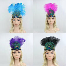 Indian Feather Headdress Vintage Ostrich Feather Flapper Headpiece Headband