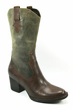 BORN SONOMA MID CALF WESTERN  DARK BROWN & VINTAGE GREEN WAXED LEATHER SZ 7