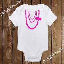 Baby Girl Pink, Black, Blue, Purple Pearl Necklace Onesies Clothes Infant Design