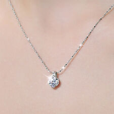 Women Silver Plated Zircon Round Crystal Pendant Necklace Chain Jewelry