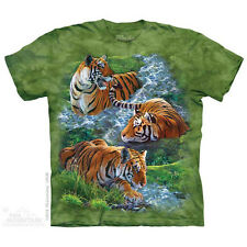 Water Tiger Collage T-Shirt by The Mountain.  Wild Big Cat Tiger Lion Leopard