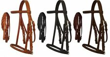 Mini Horse English Headstall w/ Raised Browband, Braided Leather Reins & Caveson