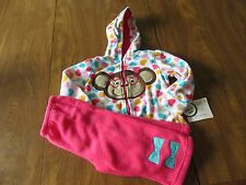 Buster Brown Girls 12, 18 Months 2 Piece Outfit Monkey Pink Green Hearts NWT