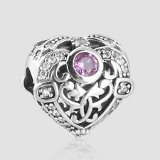 2016 Pink CZ Openwork Heart Beads Charms Fit Bracelets DIY Silver  For Jewelry