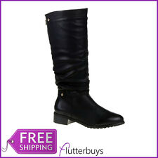 Womens Black Riding Knee High Boots Ruched Strap & Zip Low Heel Fur Ladies Size