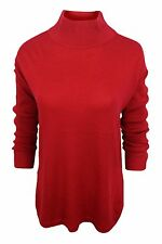 Vince Camuto $89 NWT Crimson Red Mock Turtleneck Side Vents Sweater Women