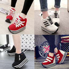 2016 Women's Students Lace Up High Platform Wedge Sneakers heels Casual shoes