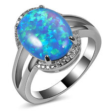 Blue Fire Opal Ring 925 Sterling Silver Wedding Ring Size 5 6 7 8 9 10 11