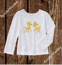 Sparkle Gold Rudolph Reindeer Red Nose - Long Sleeve Tshirt 2T - 5T Toddler Girl