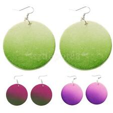 Fashion Ethnic Simple Handmade Wood Circle Round Earring Wooden Hook Drop Dangle