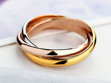 3 Colors Band Ring Décor Gifts Stainless Steel Ring Gold Silver Tone Rose-gold