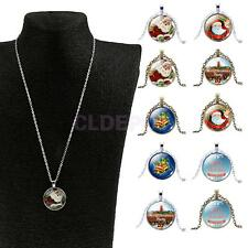 Merry Christmas Santa Claus Bell Xmas Cabochon Glass Chain Pendant Necklace