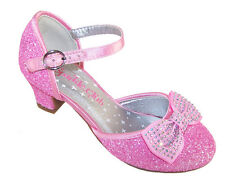 Girls Children Low Heel Candy Pink Party Glitter Sparkle Shoes Bow Trim Gems