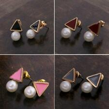 Elegant Personality Earrings Triangle Pearl Gold Ear Studs for Womens Jewelry
